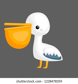 a vector of a cute pelican with a big peck