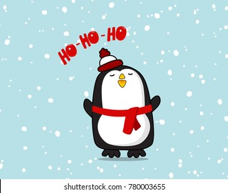 Vector cute Penguin character. Christmas ho ho ho poster for baby room, greeting card, kids and baby t-shirts and wear. Cool Pinguin new year baby decoration, winter greeting card