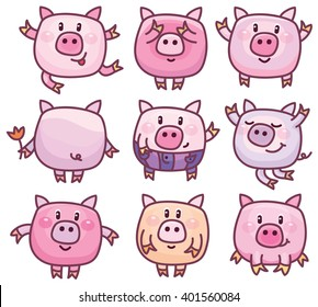 Vector cute pigs cartoons isolated.