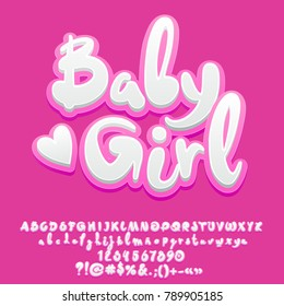 Vector cute pink Baby Girl Alphabet Letters, Numbers and Symbols