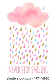 Vector. Cute pink watercolor cloud with rain. Set of watercolor cloud objects isolated on white background for your design: textile, fabric, postcard, invitation, cloud.