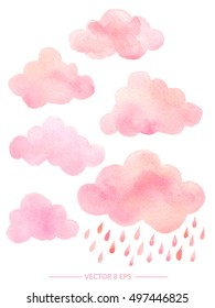 Vector. Cute pink watercolor clouds with rain. Set of watercolor objects isolated on white background for your design: textile, fabric, postcard, invitation.