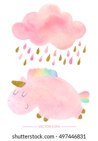 Vector. Cute pink watercolor unicorn and cloud with rain. Set of watercolor objects isolated on white background for your design: textile, fabric, postcard, invitation.