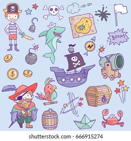 Vector cute pirate objects set collection with shark, pirate ship, boy, sailor, map, treasures and so on