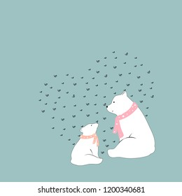 Vector cute polar bear Mommy and child sitting together with smiling face,Two white bear sitting with heart shape background on green pastel,Baby shower or kid birthday or Mother day card,Flat design