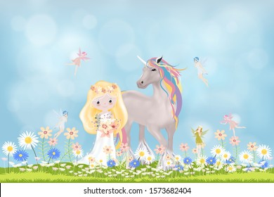 Vector cute princess and unicorn walking in summer field with little fairies flying against blurry blue sky background, Cartoon Spring scene with happy girl and horse walking in daisy flowers field