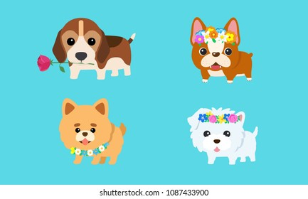 Vector cute puppy with a variety of colorful flowers.