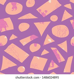 Vector cute purple sporty anthropomorphic cartoon characters and peach irregular shapes seamless pattern background