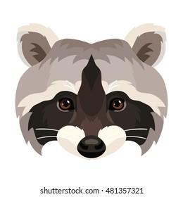 Vector cute raccoon face wild animal portrait zoo icon print