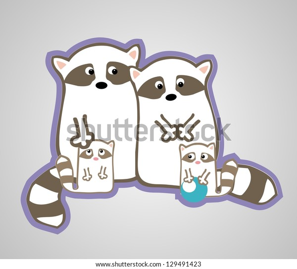 Vector cute raccoon family with two children