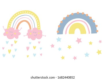 Vector cute rainbow with smiling happy clouds. Rain from hearts and stars. Pastel colors. Baby illustrations. Kids background. Childish scandinavian print for kids, baby, nursery decor.