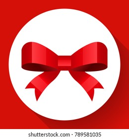 Vector cute red bow icon Flat style