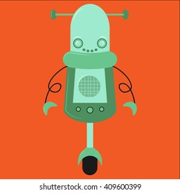 vector cute robot illustration in flat style