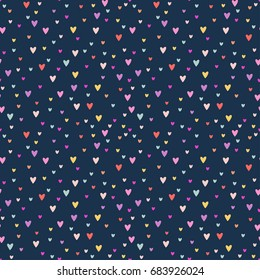 Vector cute romantic cartoon hearts seamless pattern background