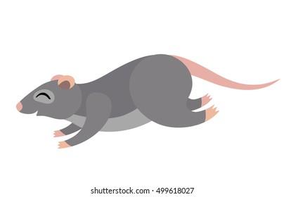 Vector cute running grey rat