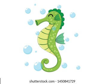 Vector cute seahorse isolated on white background. Sea animal vector illustration