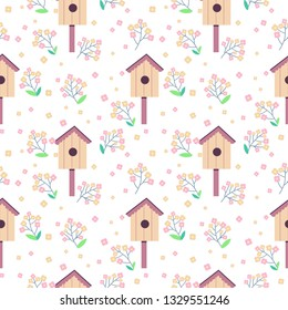 Vector cute seamless pattern with blossom branches and birdhouses