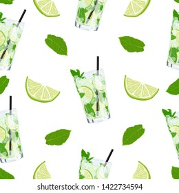 Vector cute seamless pattern with glass of lemonade or mojito cocktail. Summer background with fresh drinks, mint leaves and slice of lime. Summer illustration for design, Web, banner, bar menu.