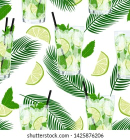 Vector cute seamless pattern with glass of lemonade or mojito cocktail. Summer background with fresh drinks and tropic palm leaves. Summer illustration for design, Web, banner, bar menu, template.