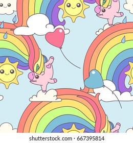 vector cute seamless pattern. Hand drawn clip art for kids. Childish square texture. Cartoon graphic design. Happy festive backdrop. Unicorns time concept. 020