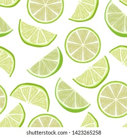 Vector cute seamless pattern with slices of fresh lime. Summer background with fresh citrus fruits. Summer illustration for design, Web, banner, bar menu, template.