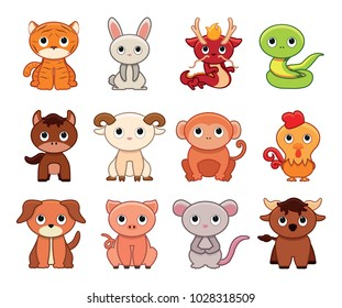 Vector cute set chinese zodiac colorful contoured isolated