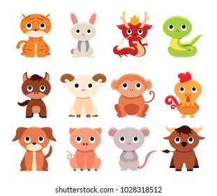 Vector cute set chinese zodiac colorful  isolated