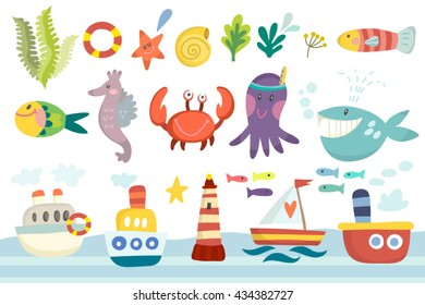 Vector cute set of sea life in cartoonish style