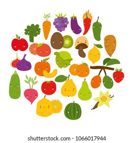 vector cute set, vegetables and fruits. funny characters