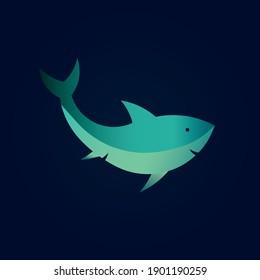 Vector cute shark . Minimalism illustration