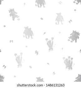 Vector cute silver foil-like textured sporty anthropomorphic cartoon characters seamless pattern background