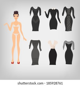 Vector cute simple dress up paper doll with an assortment of classic little black dresses