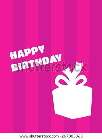 Vector Cute Simple Happy Birthday Card With Gift Silhouette On Pink Background Horizontal Lines