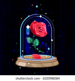 vector cute single rose under flask glass (glass dome). Red eternal flower art. Luxury fairy symbol. Beauty and Beast story. Vintage fairytale element. Graphic on dark blue black background.