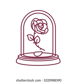 vector cute single rose under flask glass (glass dome). Eternal flower art. Beauty and Beast story. Black line (outline) illustration. Vintage fairytale element. Graphic isolated on white background