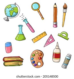 Vector cute sketchy doodle back to school icons