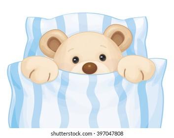 Vector cute sleeping baby bear in bed.