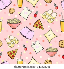 Vector Cute Sleepover Party Food Objects Seamless Pattern. Pizza. Popcorn. Pajamas. Treat.