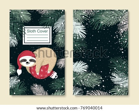 vector cute sloth set cover template stock vector royalty free