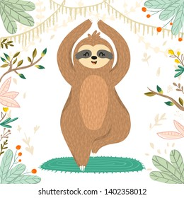 Vector cute sloth in yoga pose tree (vrikshasana) in the rainforest. Funny sloth meditating on the mat among tropical leaves, flowers. Adorable yoga animal illustration. Vector