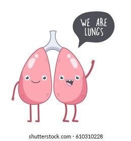 Vector cute smiling lungs. Human internal organs.