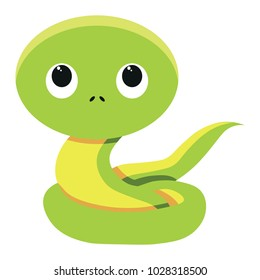 Vector cute snake colorful isolated