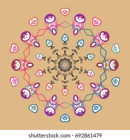 Vector cute snowflakes on colorful background. Vector illustration. Vector snowflakes pattern.