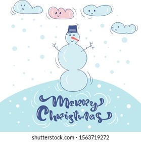 Vector Cute snowman in hat, snow and clouds. Vintage calligraphy handwritten text Merry Christmas. Banner, greeting Card, scandinavian doodle illustration