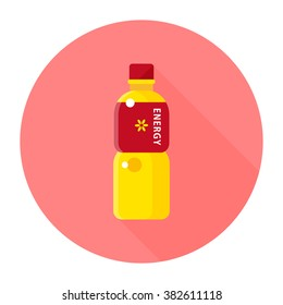 vector cute sports drink, electrolyte drink set / cartoon, flat, icon, circle / yellow and pink on white