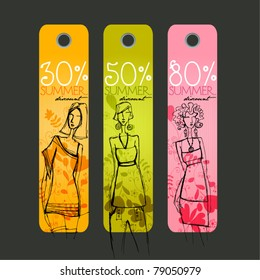 vector cute Summer price tags with fashion girls