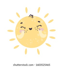 vector cute sun for children. kindness and cozy, yellow circle, laughter and smile. kawaii illustration for kids. baby shower