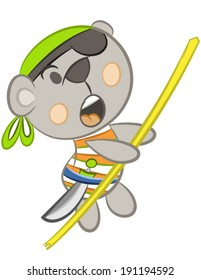 """Vector of cute teddy bear pirate with bones and type """" little pirate """""""