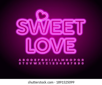 Vector cute text Sweet Love with Decorative Heart. Pink Neon Font. Glowing Alphabet Letters and Numbers set