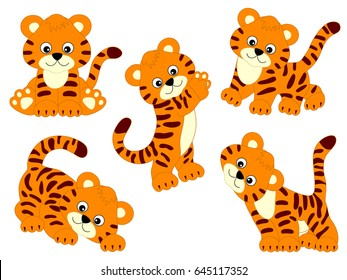 Vector cute tigers, tiger cub, baby tiger, tiger clipart, vector illustration